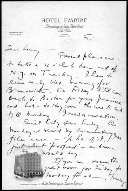 Letter from Aaron Copland to Leonard Bernstein, April 1939