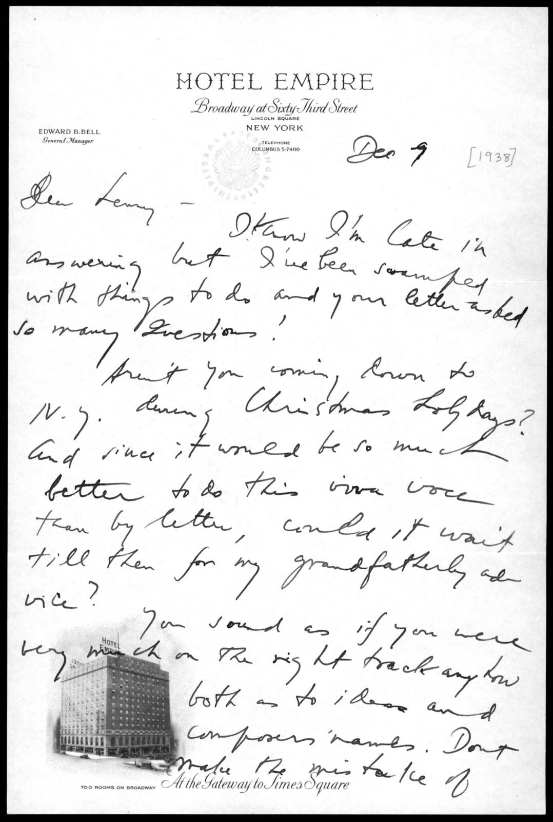 Letter from Aaron Copland to Leonard Bernstein, December 9, 1938