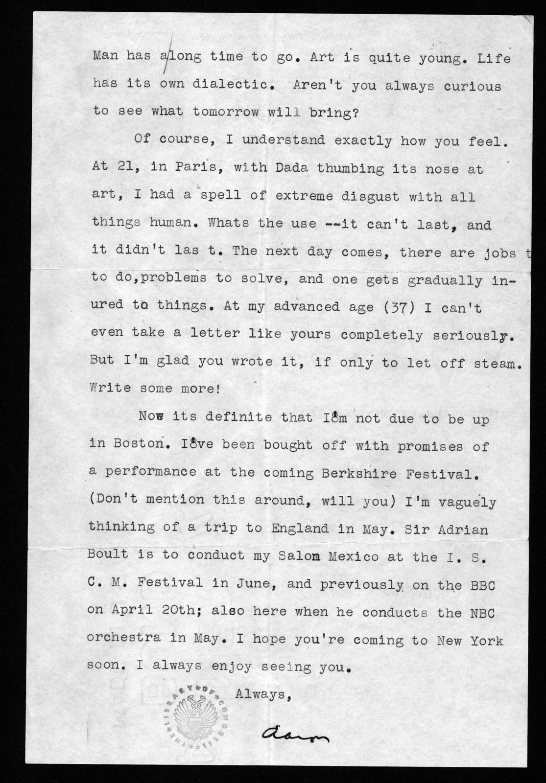 Letter from Aaron Copland to Leonard Bernstein, March 23, 1938