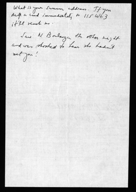 Letter from Aaron Copland to Leonard Bernstein, n.d.