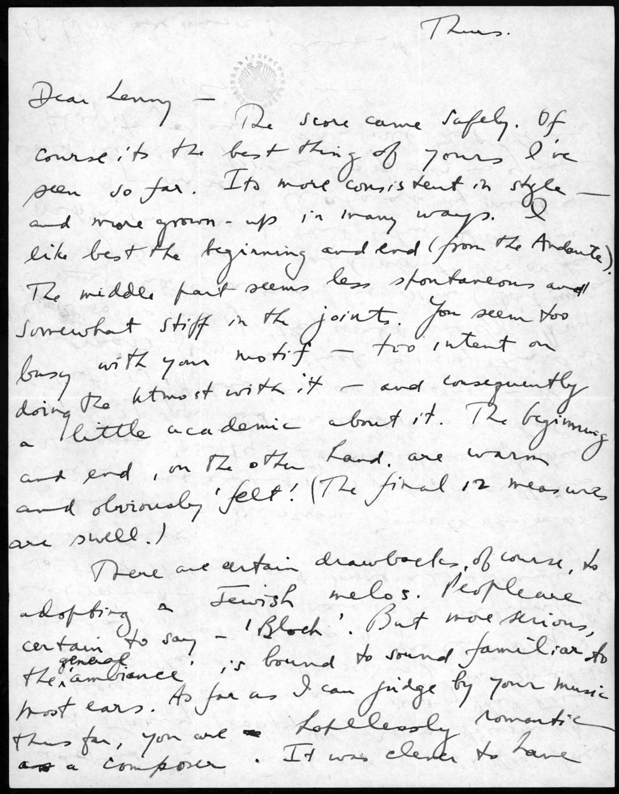 Letter from Aaron Copland to Leonard Bernstein, September 1939