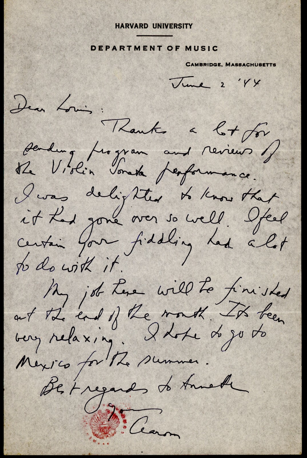 Letter from Aaron Copland to Louis Kaufman, June 2, 1944.