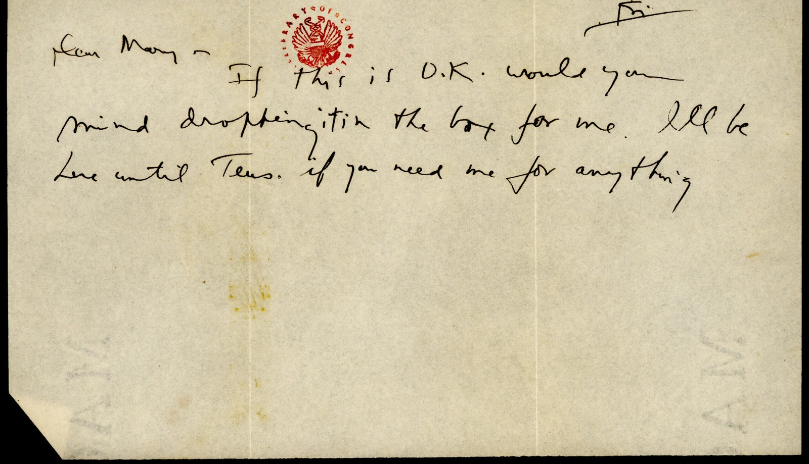 Letter from Aaron Copland to Mary Lescaze, 1930.