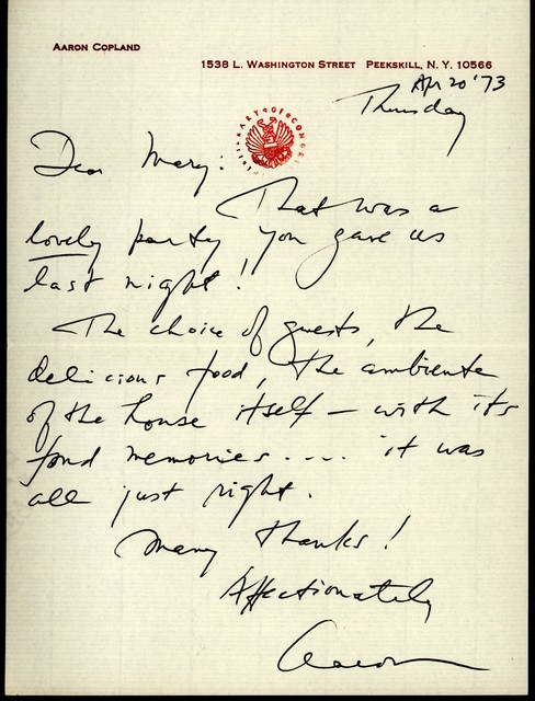 Letter from Aaron Copland to Mary Lescaze, April 20, 1973.