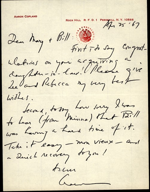 Letter from Aaron Copland to Mary Lescaze, April 25, 1967.