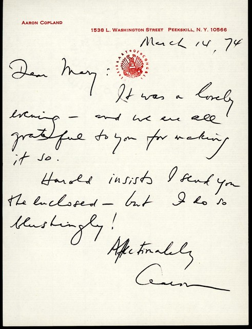 Letter from Aaron Copland to Mary Lescaze, March 14, 1974.