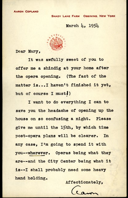 Letter from Aaron Copland to Mary Lescaze, March 4, 1954.