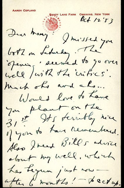 Letter from Aaron Copland to Mary Lescaze, October 12, 1953.