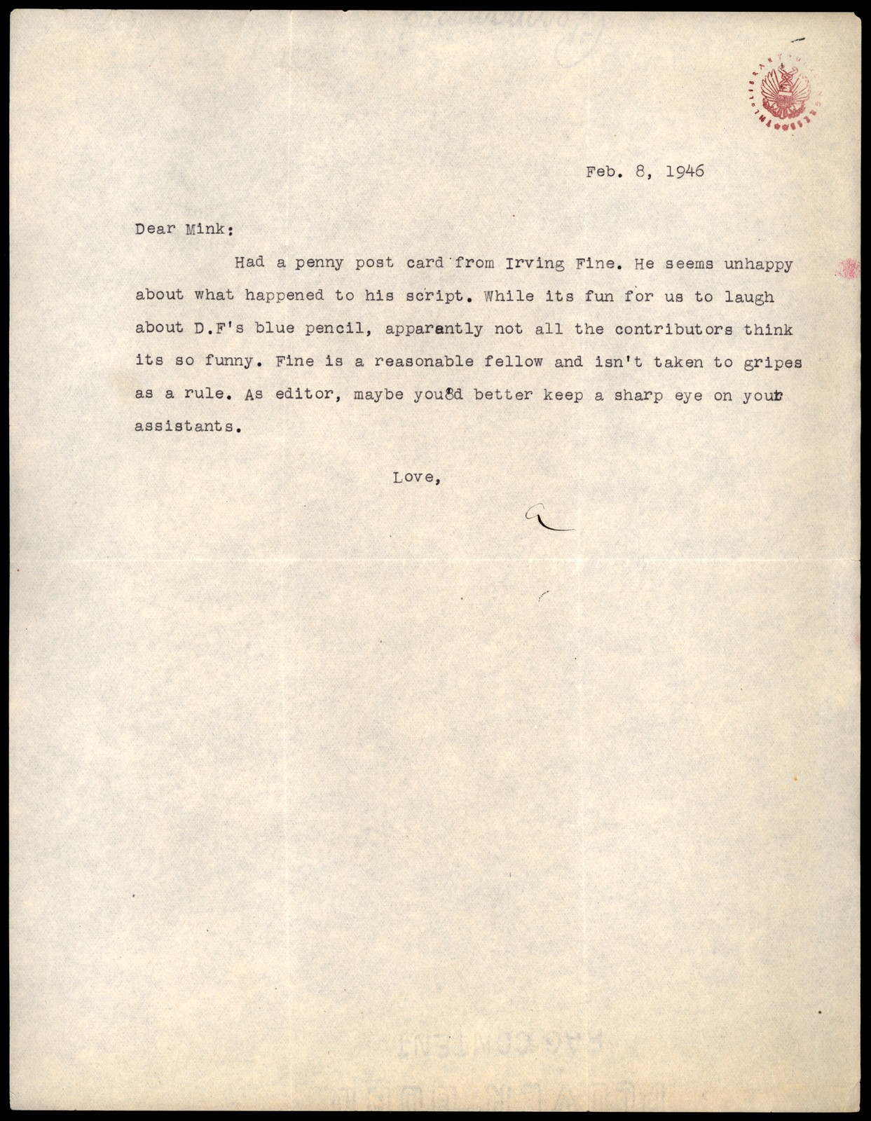 Letter from Aaron Copland to Minna Lederman, February 8, 1946.