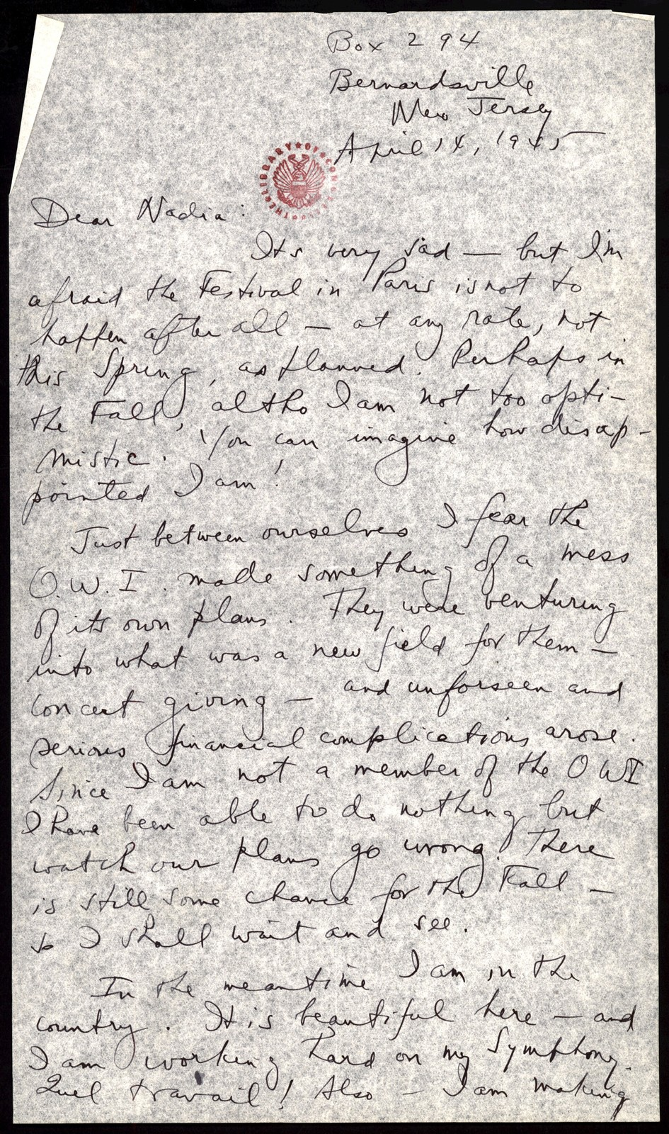 Letter from Aaron Copland to Nadia Boulanger, April 14, 1945.