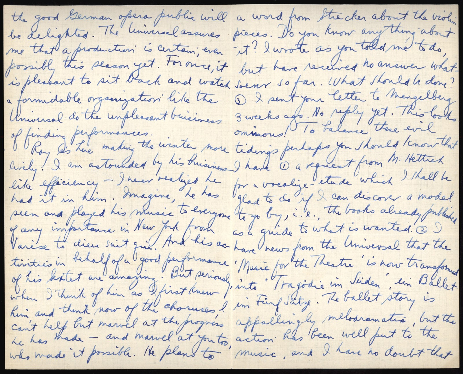 Letter from Aaron Copland to Nadia Boulanger, December 19, 1927.