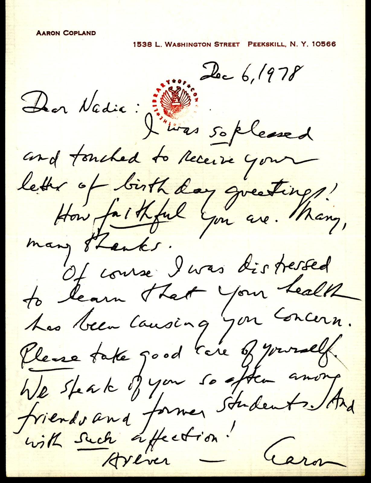 Letter from Aaron Copland to Nadia Boulanger, December 6, 1978.