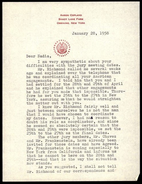 Letter from Aaron Copland to Nadia Boulanger, January 28, 1958.