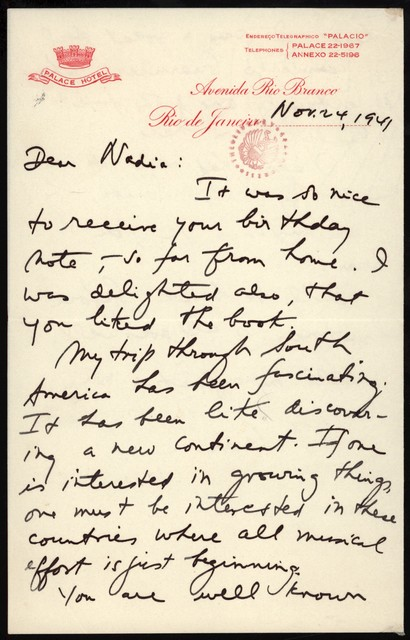 Letter from Aaron Copland to Nadia Boulanger, November 24, 1941.