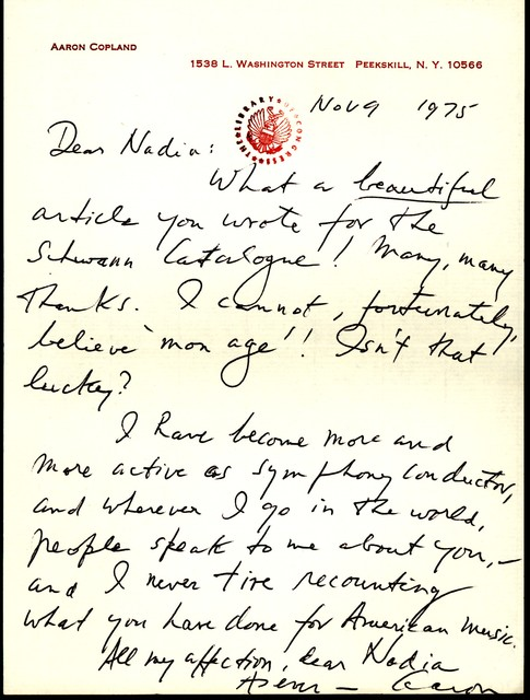 Letter from Aaron Copland to Nadia Boulanger, November 9, 1975.