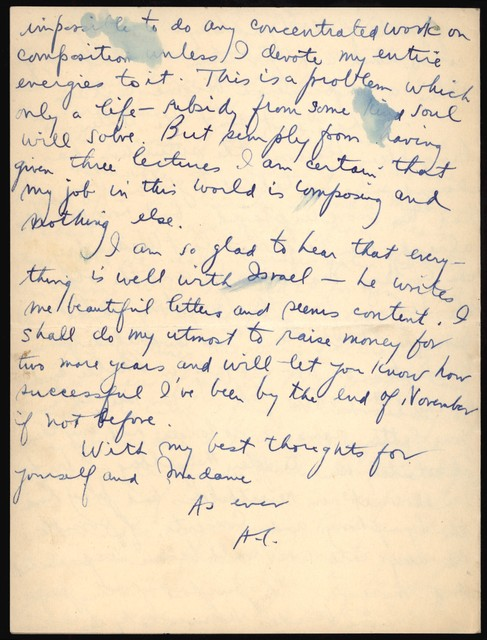 Letter from Aaron Copland to Nadia Boulanger, October 16, 1927.