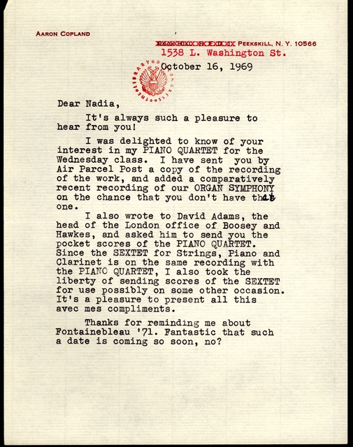 Letter from Aaron Copland to Nadia Boulanger, October 16, 1969.