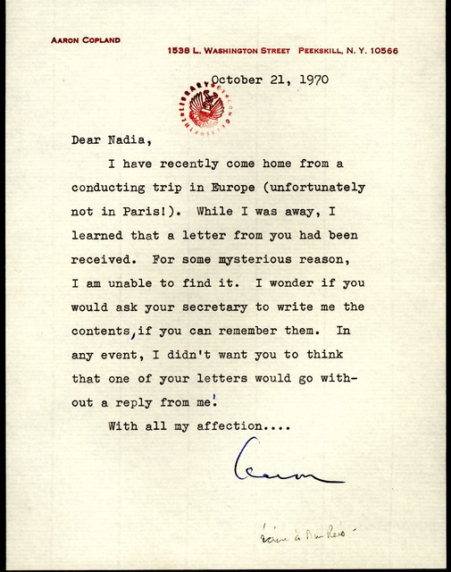 Letter from Aaron Copland to Nadia Boulanger, October 21, 1970.