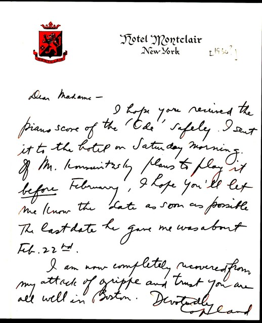 Letter from Aaron Copland to Natalie Koussevitzky, 1930.
