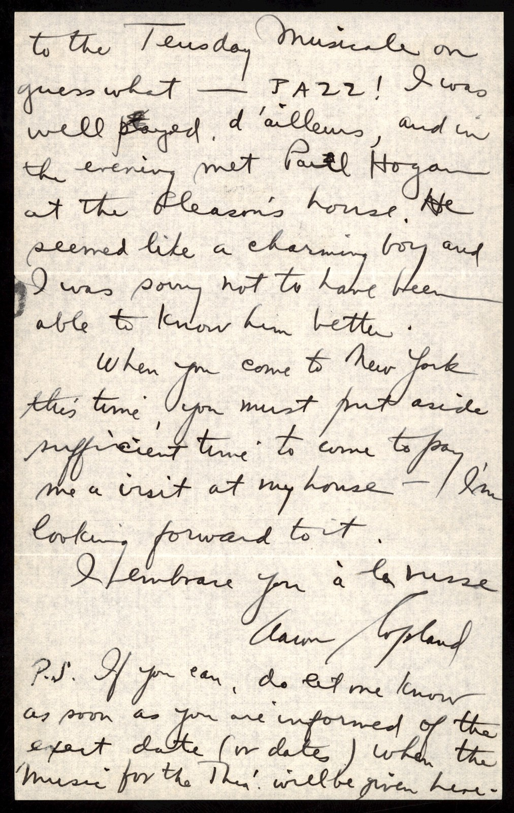 Letter from Aaron Copland to Nicloas Slonimsky, December 13, 1925.