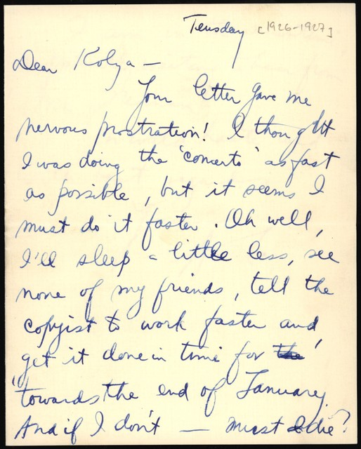 Letter from Aaron Copland to Nicolas Slonimsky, 1926.
