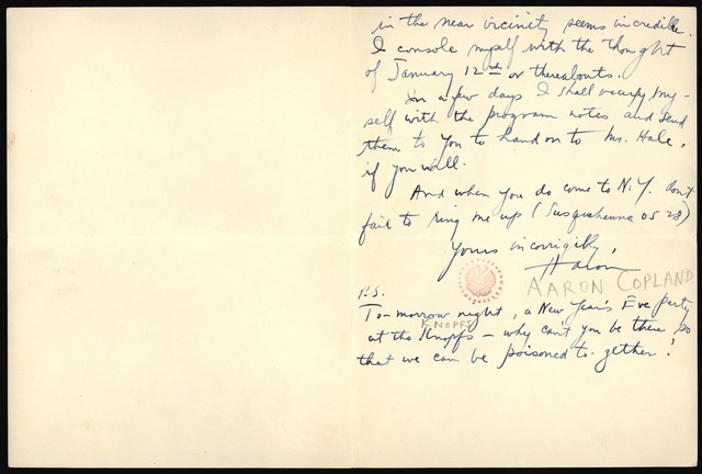 Letter from Aaron Copland to Nicolas Slonimsky, December 30, 1926.