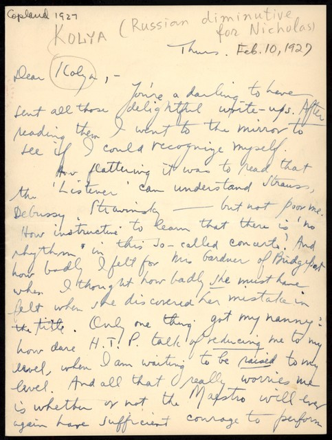 Letter from Aaron Copland to Nicolas Slonimsky, February 10, 1927.
