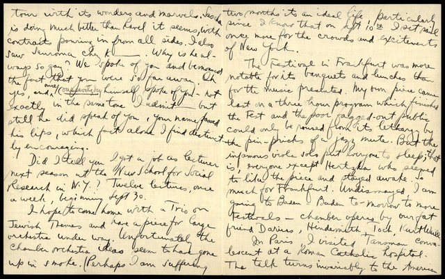 Letter from Aaron Copland to Nicolas Slonimsky, July 14, 1927.