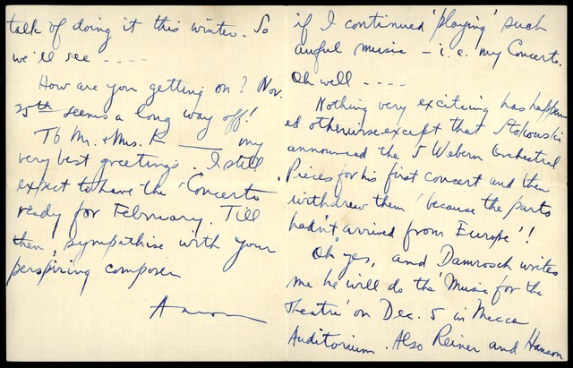 Letter from Aaron Copland to Nicolas Slonimsky, October 18, 1926.
