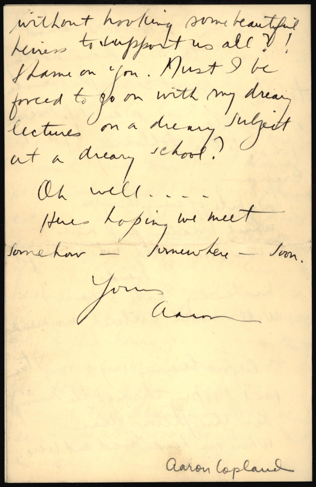 Letter from Aaron Copland to Nicolas Slonimsky, September 14, 1927.