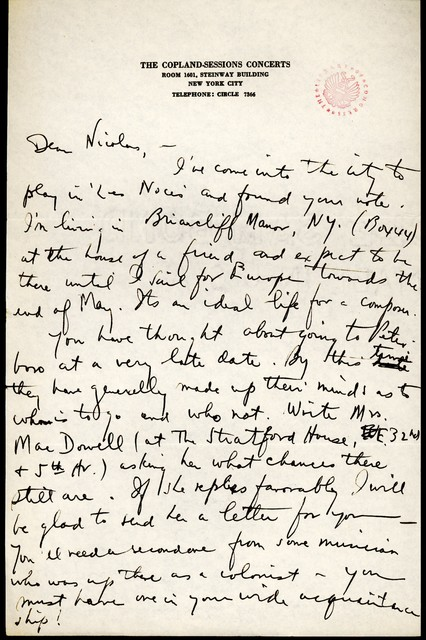 Letter from Aaron Copland to Nicolas Slonimsky, undated.