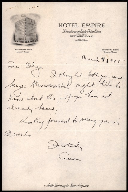 Letter from Aaron Copland to Olga Naoumoff, March 3, 1945.