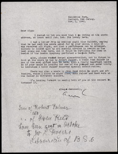 Letter from Aaron Copland to Olga Naoumoff, November 5, 1942.