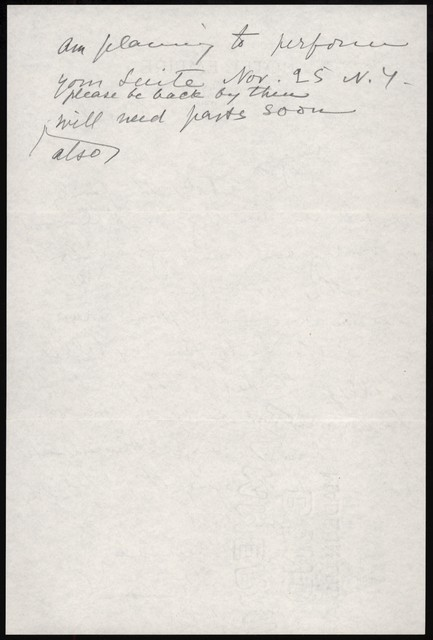 Letter from Aaron Copland to Olga Naoumoff, October 10, 1939.