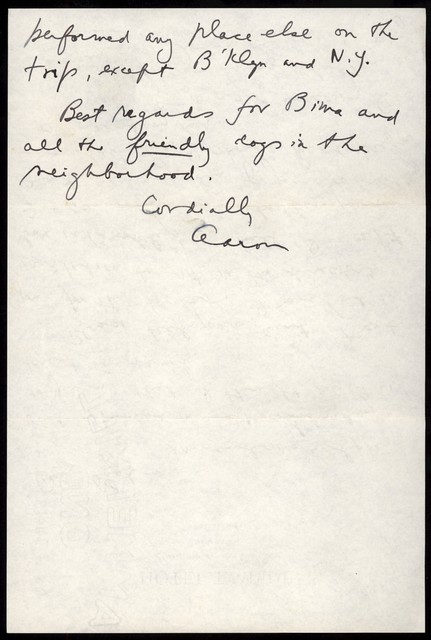 Letter from Aaron Copland to Olga Naoumoff, October 1939.