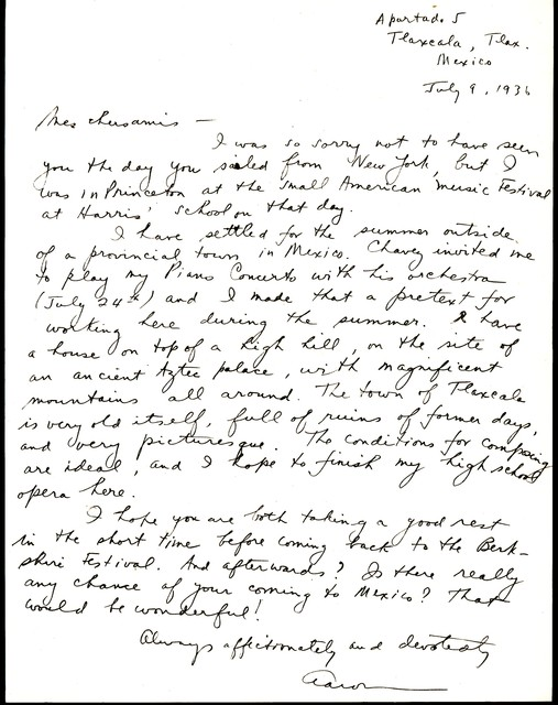 Letter from Aaron Copland to Serge and Natalie  Koussevitzky, July 9, 1936.