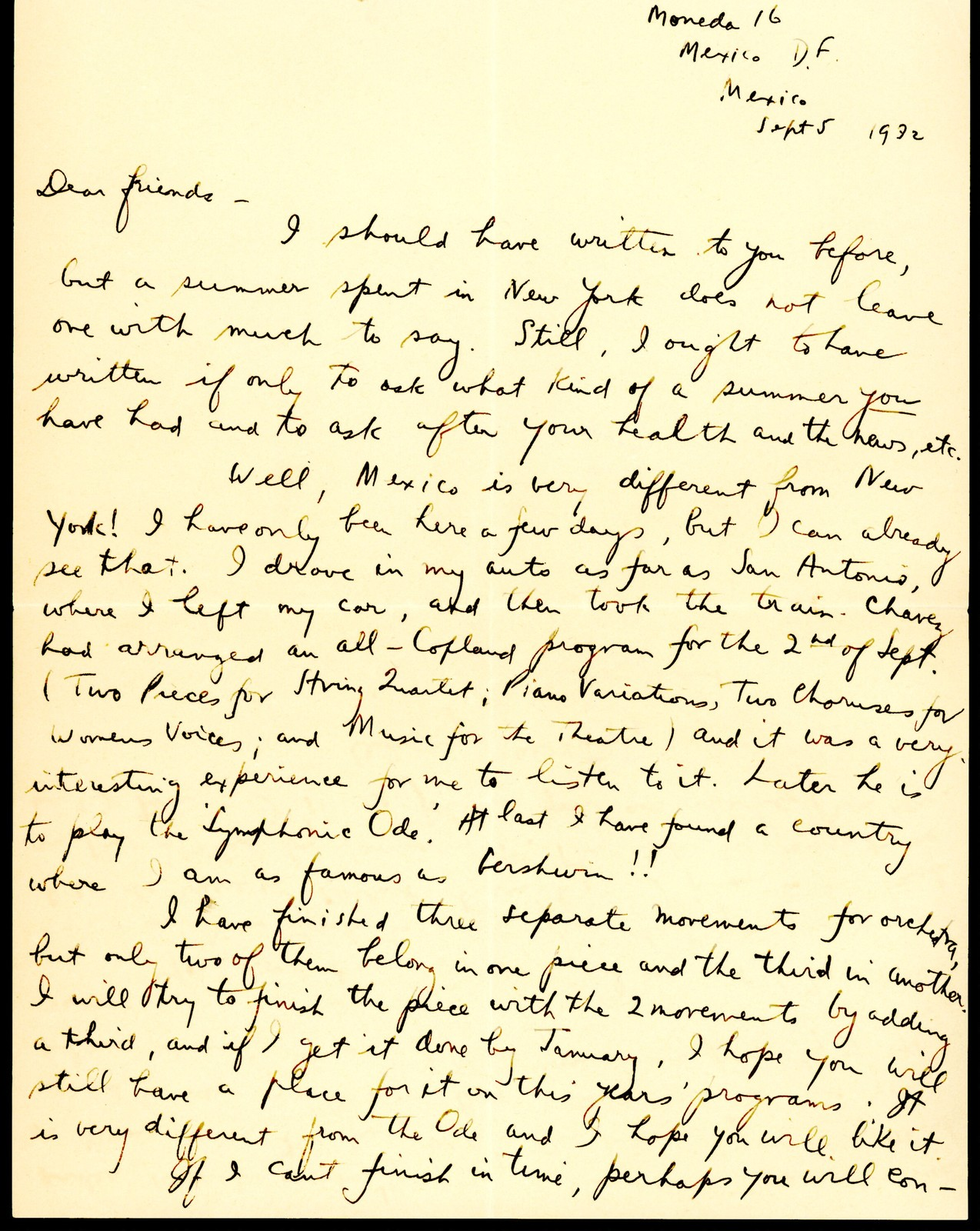 Letter from Aaron Copland to Serge and Natalie Koussevitzky, September 5, 1932.