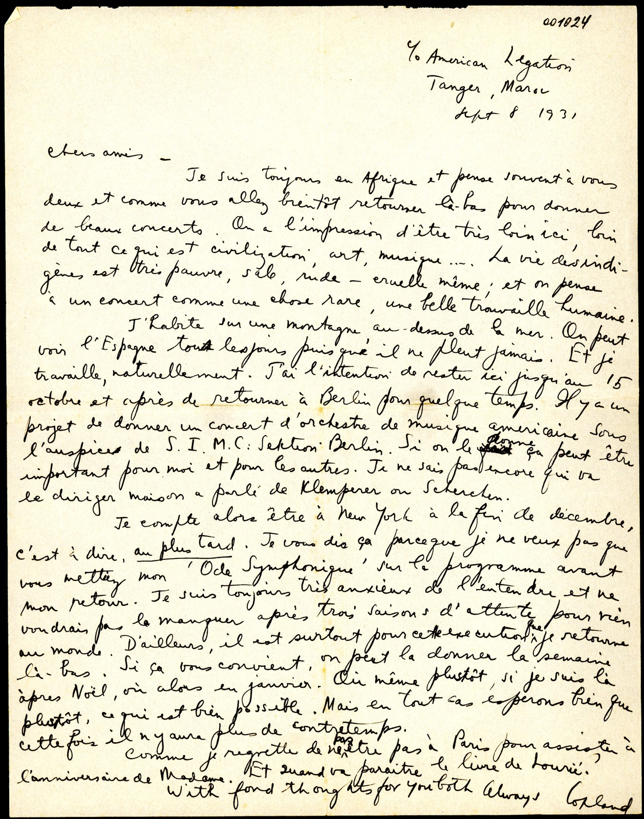 Letter from Aaron Copland to Serge and Natalie Koussevitzky, September 8, 1931.