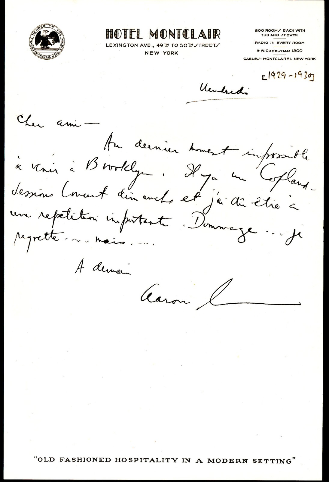 Letter from Aaron Copland to Serge Koussevitzky, 1929-1930.