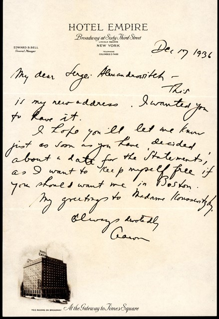 Letter from Aaron Copland to Serge Koussevitzky, December 17, 1936.