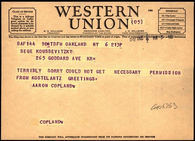 Letter from Aaron Copland to Serge Koussevitzky, December 6, 1942.