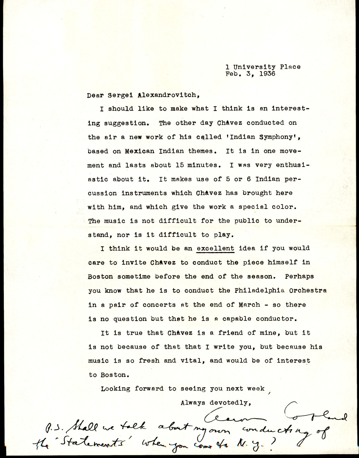 Letter from Aaron Copland to Serge Koussevitzky, February 3, 1936.