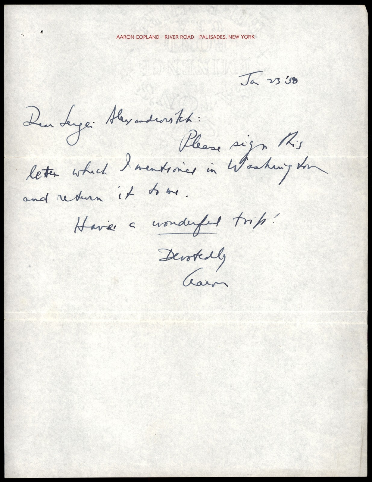Letter from Aaron Copland to Serge Koussevitzky, January 23, 1950.