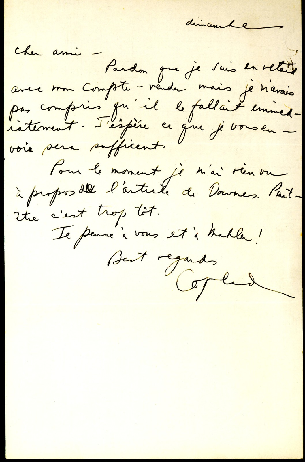 Letter from Aaron Copland to Serge Koussevitzky, undated.
