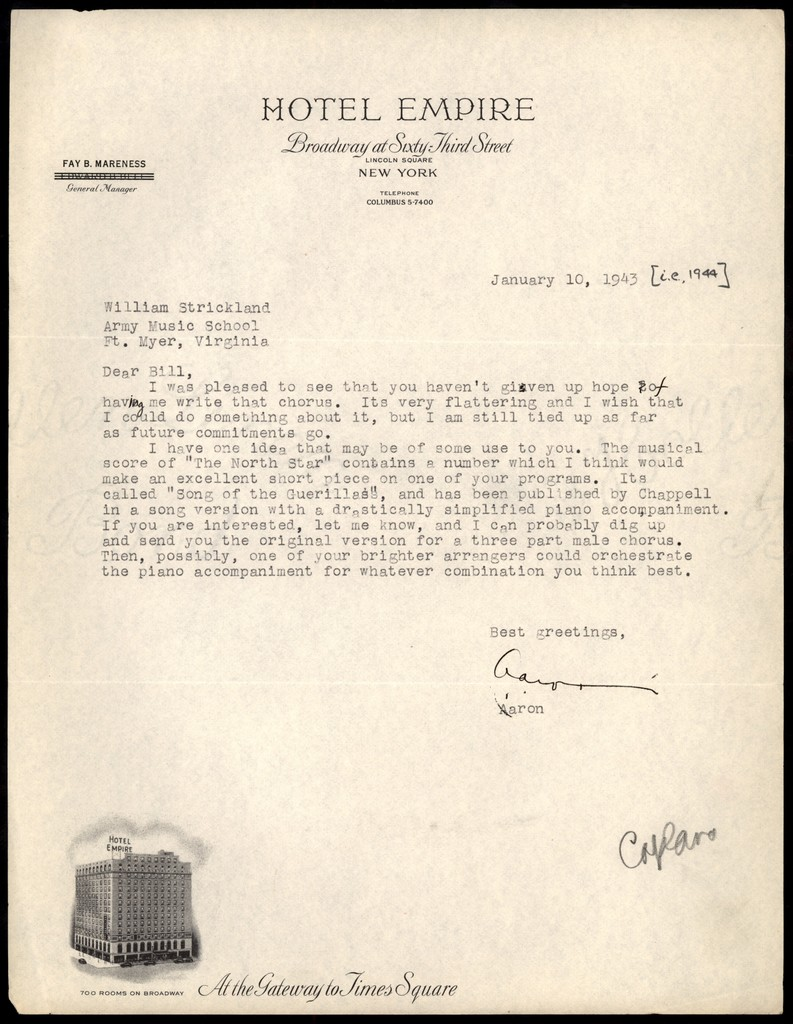 Letter from Aaron Copland to William Strickland, January 10, 1943.
