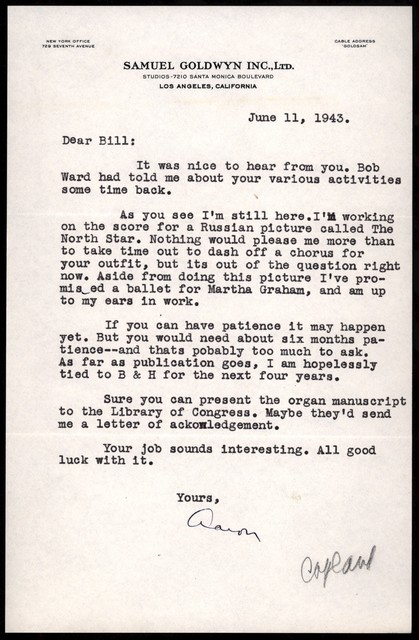 Letter from Aaron Copland to William Strickland, June 11, 1943.
