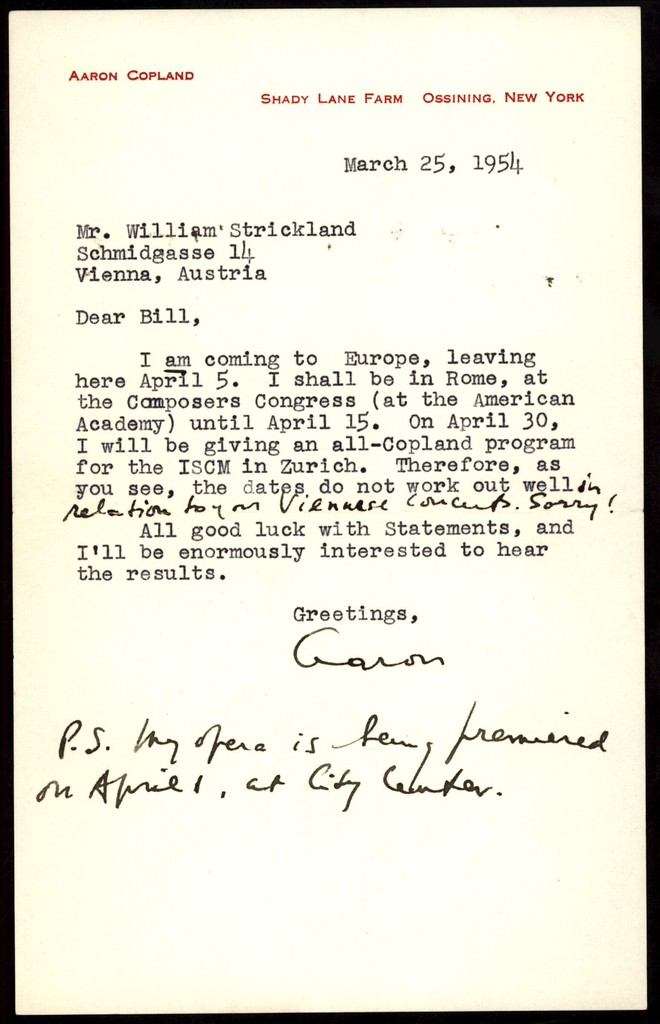 Letter from Aaron Copland to William Strickland, March 25, 1954.