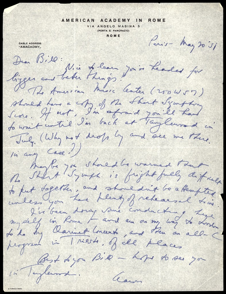 Letter from Aaron Copland to William Strickland, May 20, 1951.