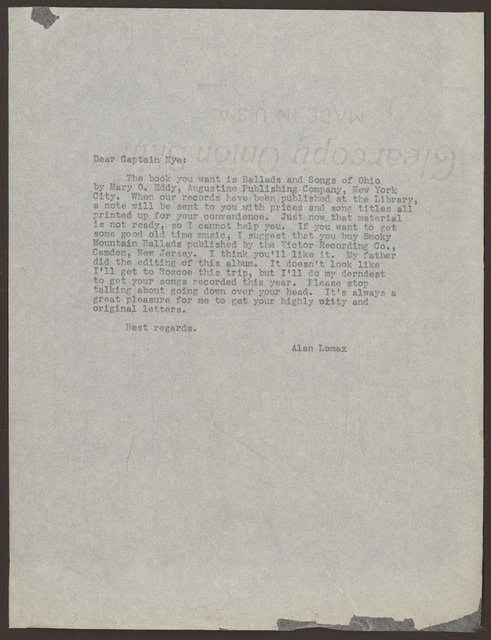 Letter from Alan Lomax to Pearl R. Nye 1