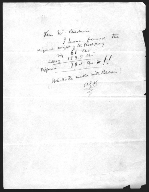 Letter from Alexander Graham Bell to Frederick W. Baldwin, undated